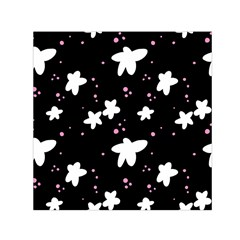 Square Pattern Black Big Flower Floral Pink White Star Small Satin Scarf (square) by Alisyart