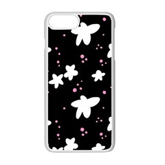 Square Pattern Black Big Flower Floral Pink White Star Apple Iphone 7 Plus White Seamless Case