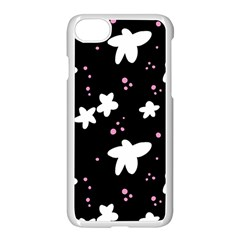 Square Pattern Black Big Flower Floral Pink White Star Apple Iphone 7 Seamless Case (white) by Alisyart