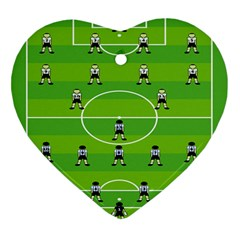 Soccer Field Football Sport Heart Ornament (two Sides)