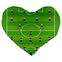 Soccer Field Football Sport Large 19  Premium Heart Shape Cushions