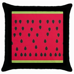 Watermelon Fan Red Green Fruit Throw Pillow Case (black)