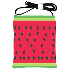 Watermelon Fan Red Green Fruit Shoulder Sling Bags by Alisyart