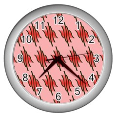 Variant Red Line Wall Clocks (silver)