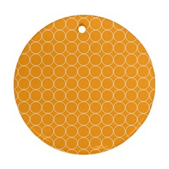 Yellow Circles Round Ornament (two Sides)
