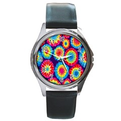 Tie Dye Circle Round Color Rainbow Red Purple Yellow Blue Pink Orange Round Metal Watch by Alisyart