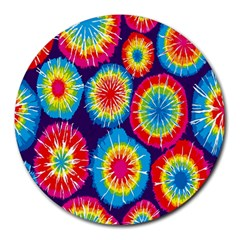 Tie Dye Circle Round Color Rainbow Red Purple Yellow Blue Pink Orange Round Mousepads by Alisyart