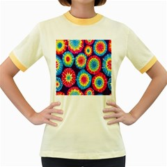 Tie Dye Circle Round Color Rainbow Red Purple Yellow Blue Pink Orange Women s Fitted Ringer T Shirts