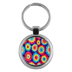 Tie Dye Circle Round Color Rainbow Red Purple Yellow Blue Pink Orange Key Chains (round)  by Alisyart