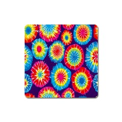 Tie Dye Circle Round Color Rainbow Red Purple Yellow Blue Pink Orange Square Magnet