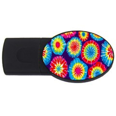 Tie Dye Circle Round Color Rainbow Red Purple Yellow Blue Pink Orange Usb Flash Drive Oval (2 Gb) by Alisyart