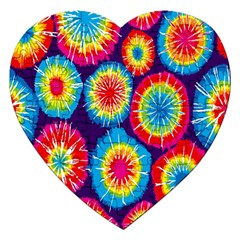 Tie Dye Circle Round Color Rainbow Red Purple Yellow Blue Pink Orange Jigsaw Puzzle (heart)