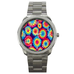 Tie Dye Circle Round Color Rainbow Red Purple Yellow Blue Pink Orange Sport Metal Watch by Alisyart