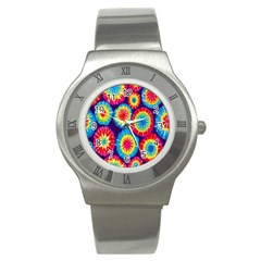 Tie Dye Circle Round Color Rainbow Red Purple Yellow Blue Pink Orange Stainless Steel Watch by Alisyart