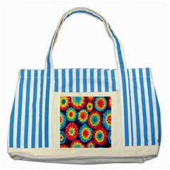 Tie Dye Circle Round Color Rainbow Red Purple Yellow Blue Pink Orange Striped Blue Tote Bag by Alisyart