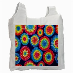 Tie Dye Circle Round Color Rainbow Red Purple Yellow Blue Pink Orange Recycle Bag (one Side) by Alisyart