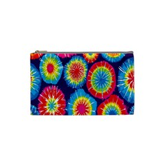 Tie Dye Circle Round Color Rainbow Red Purple Yellow Blue Pink Orange Cosmetic Bag (small)  by Alisyart