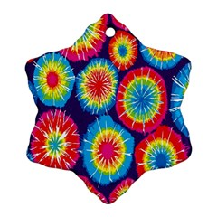 Tie Dye Circle Round Color Rainbow Red Purple Yellow Blue Pink Orange Snowflake Ornament (two Sides) by Alisyart