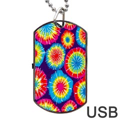 Tie Dye Circle Round Color Rainbow Red Purple Yellow Blue Pink Orange Dog Tag Usb Flash (two Sides) by Alisyart