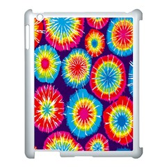Tie Dye Circle Round Color Rainbow Red Purple Yellow Blue Pink Orange Apple Ipad 3/4 Case (white)