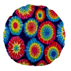 Tie Dye Circle Round Color Rainbow Red Purple Yellow Blue Pink Orange Large 18  Premium Round Cushions by Alisyart
