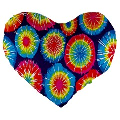 Tie Dye Circle Round Color Rainbow Red Purple Yellow Blue Pink Orange Large 19  Premium Heart Shape Cushions by Alisyart
