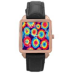 Tie Dye Circle Round Color Rainbow Red Purple Yellow Blue Pink Orange Rose Gold Leather Watch