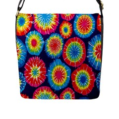 Tie Dye Circle Round Color Rainbow Red Purple Yellow Blue Pink Orange Flap Messenger Bag (l)  by Alisyart