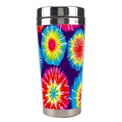 Tie Dye Circle Round Color Rainbow Red Purple Yellow Blue Pink Orange Stainless Steel Travel Tumblers by Alisyart