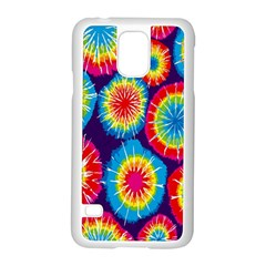 Tie Dye Circle Round Color Rainbow Red Purple Yellow Blue Pink Orange Samsung Galaxy S5 Case (white)