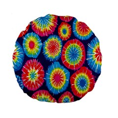 Tie Dye Circle Round Color Rainbow Red Purple Yellow Blue Pink Orange Standard 15  Premium Flano Round Cushions by Alisyart