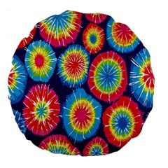 Tie Dye Circle Round Color Rainbow Red Purple Yellow Blue Pink Orange Large 18  Premium Flano Round Cushions