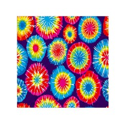 Tie Dye Circle Round Color Rainbow Red Purple Yellow Blue Pink Orange Small Satin Scarf (square)