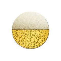 Water Bubbel Foam Yellow White Drink Magnet 3  (round)
