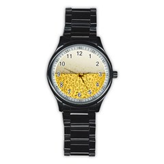 Water Bubbel Foam Yellow White Drink Stainless Steel Round Watch