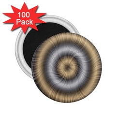 Prismatic Waves Gold Silver 2 25  Magnets (100 Pack)  by Alisyart