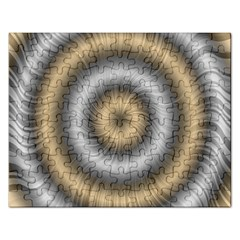 Prismatic Waves Gold Silver Rectangular Jigsaw Puzzl by Alisyart