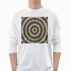 Prismatic Waves Gold Silver White Long Sleeve T-shirts by Alisyart