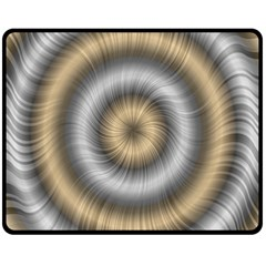Prismatic Waves Gold Silver Double Sided Fleece Blanket (medium)  by Alisyart