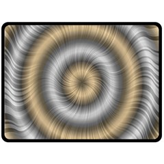 Prismatic Waves Gold Silver Double Sided Fleece Blanket (large)  by Alisyart