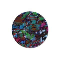 Dark Watercolor On Partial Image Of San Francisco City Mural Usa Magnet 3  (round)