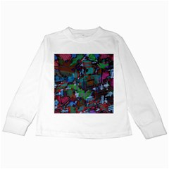 Dark Watercolor On Partial Image Of San Francisco City Mural Usa Kids Long Sleeve T Shirts