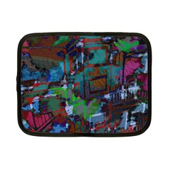 Dark Watercolor On Partial Image Of San Francisco City Mural Usa Netbook Case (small)  by Simbadda