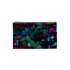Dark Watercolor On Partial Image Of San Francisco City Mural Usa Cosmetic Bag (small)