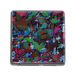 Dark Watercolor On Partial Image Of San Francisco City Mural Usa Memory Card Reader (square)