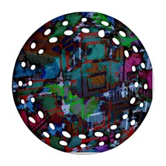 Dark Watercolor On Partial Image Of San Francisco City Mural Usa Round Filigree Ornament (two Sides)