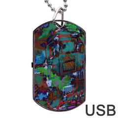 Dark Watercolor On Partial Image Of San Francisco City Mural Usa Dog Tag Usb Flash (two Sides)
