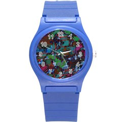 Dark Watercolor On Partial Image Of San Francisco City Mural Usa Round Plastic Sport Watch (s) by Simbadda