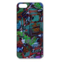 Dark Watercolor On Partial Image Of San Francisco City Mural Usa Apple Seamless Iphone 5 Case (clear) by Simbadda