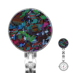 Dark Watercolor On Partial Image Of San Francisco City Mural Usa Stainless Steel Nurses Watch